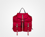 Prada Black Nylon Backpack CHERRY RED Prada