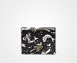 「サフィアーノ」レザー 財布 ブラック 人魚モチーフ Prada