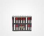 「サフィアーノ」レザー 財布 ブラック リップスティックモチーフ Prada
