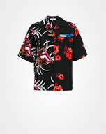 Printed cotton poplin shirt RED/BLACK Prada