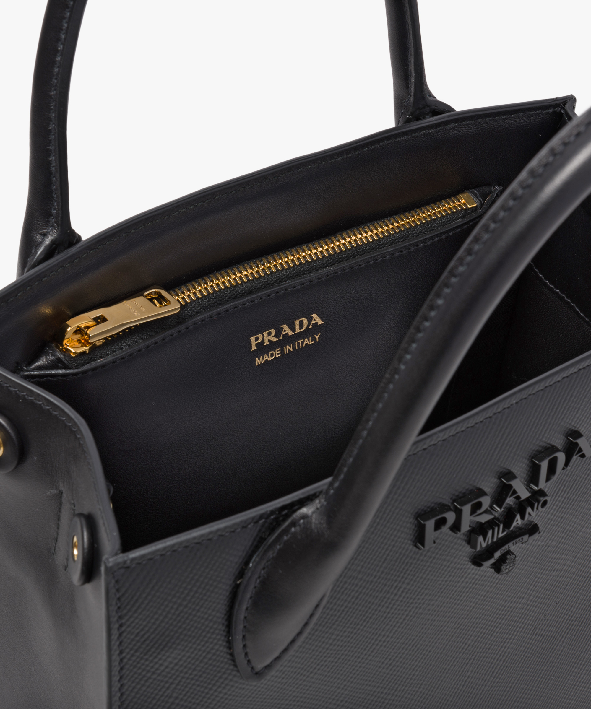 b271389126f3 Prada Monochrome Saffiano leather bag Prada BLACK ...