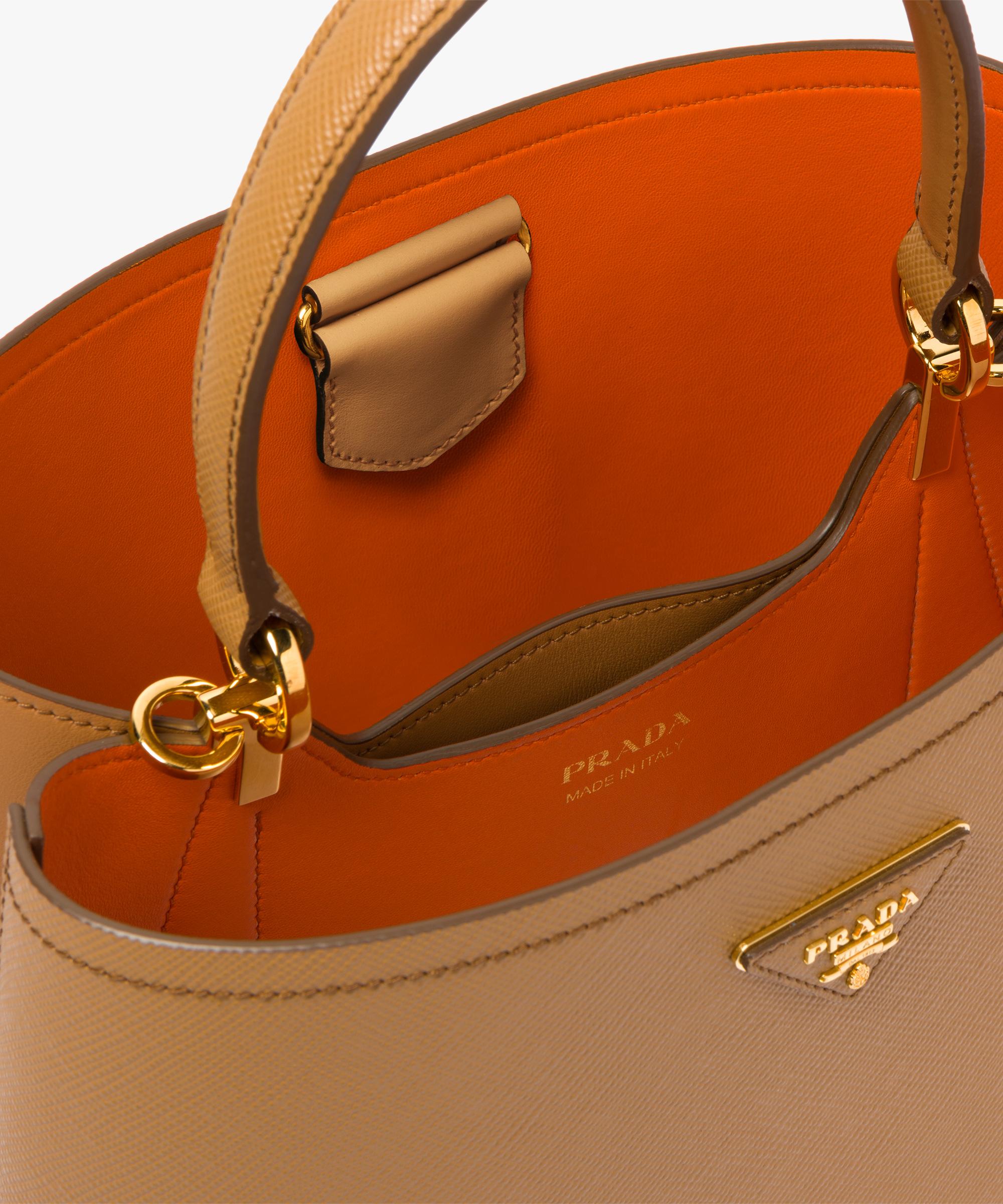 6fec938dce8d35 ... authentic prada double saffiano leather bag prada caramel papaya 96546  dc2a8