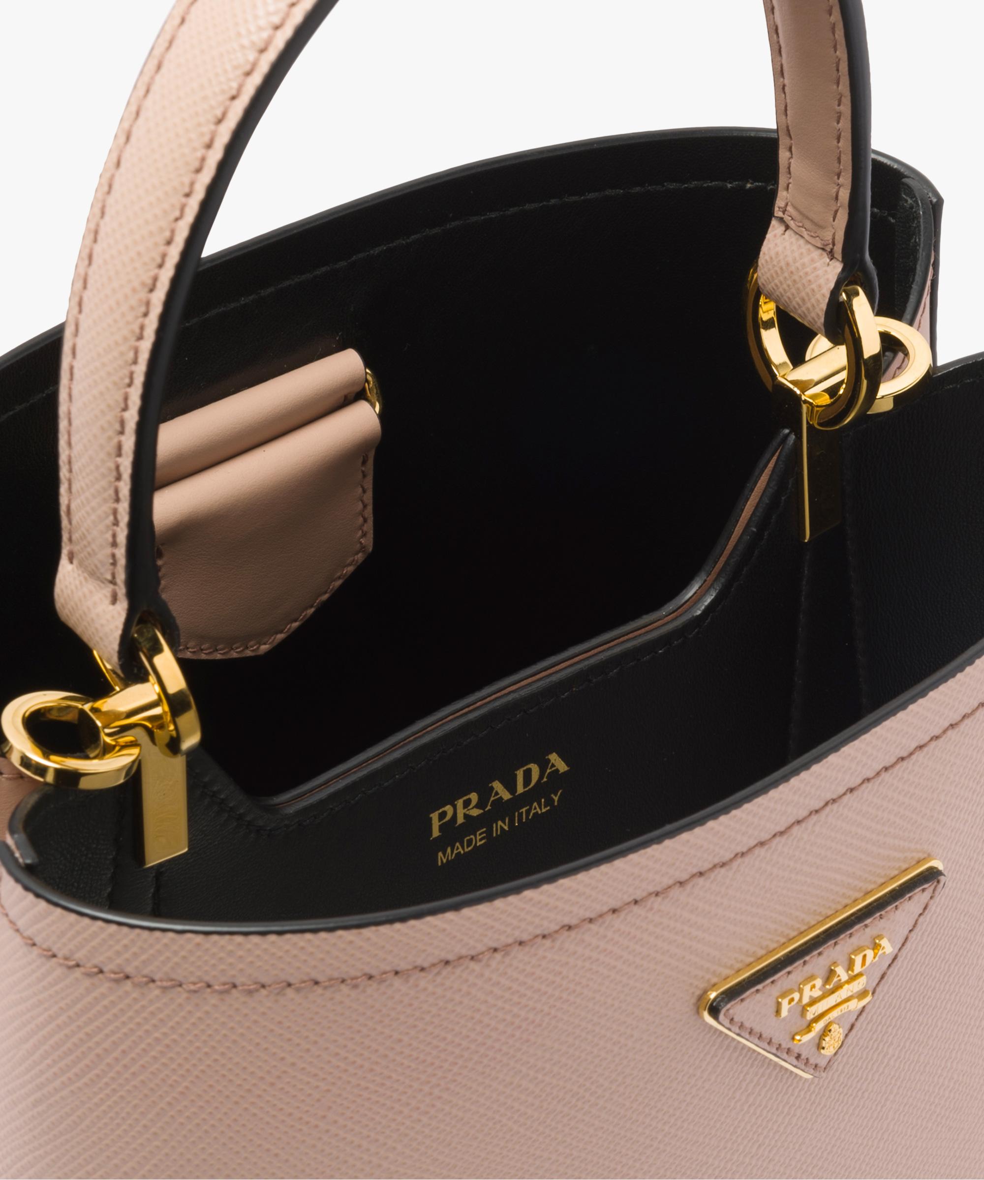 97364298a5e6a7 Prada Panier Medium bag Prada POWDER PINK/BLACK ...