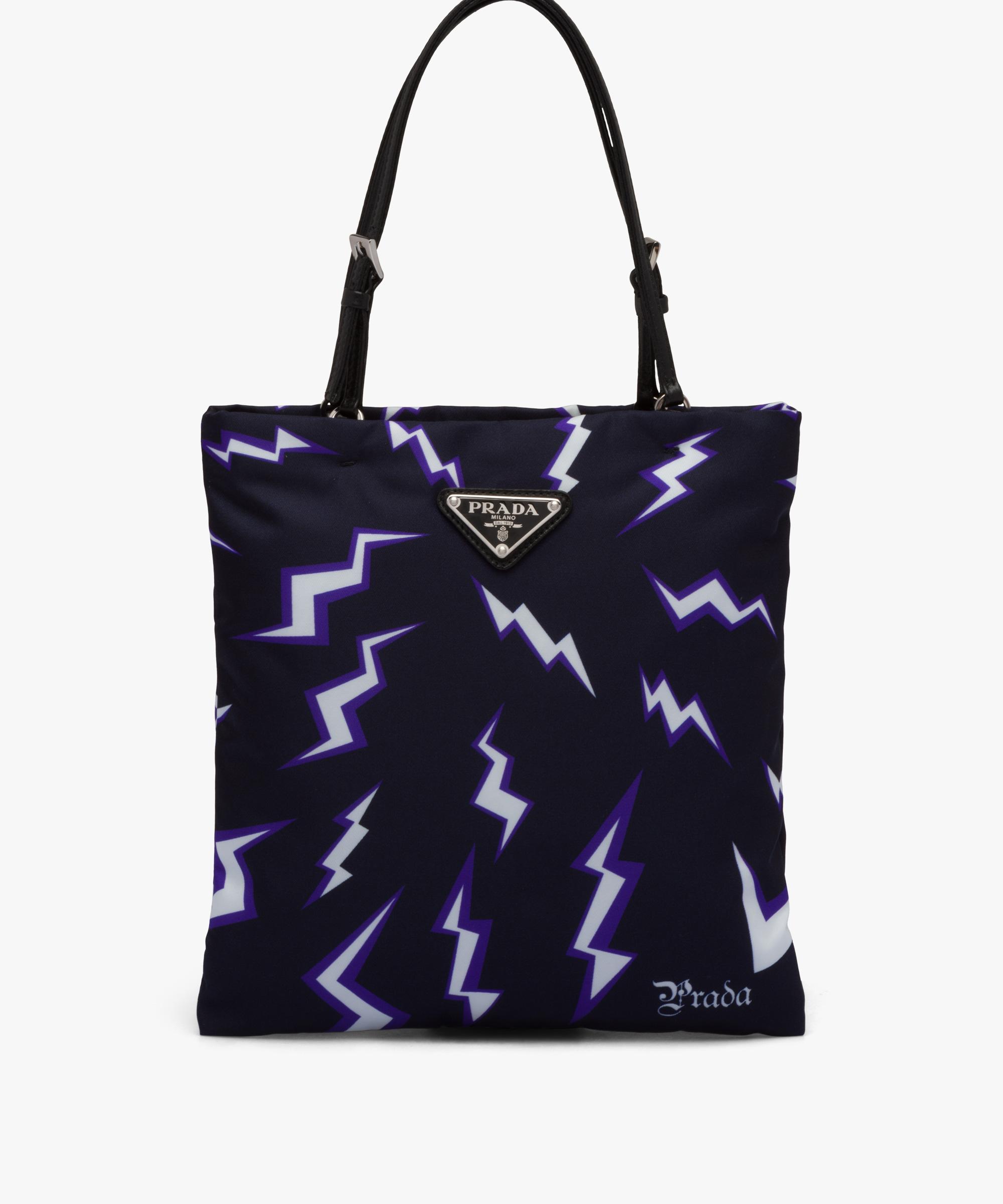 60c8d79674 Lightning print nylon handbag   Prada