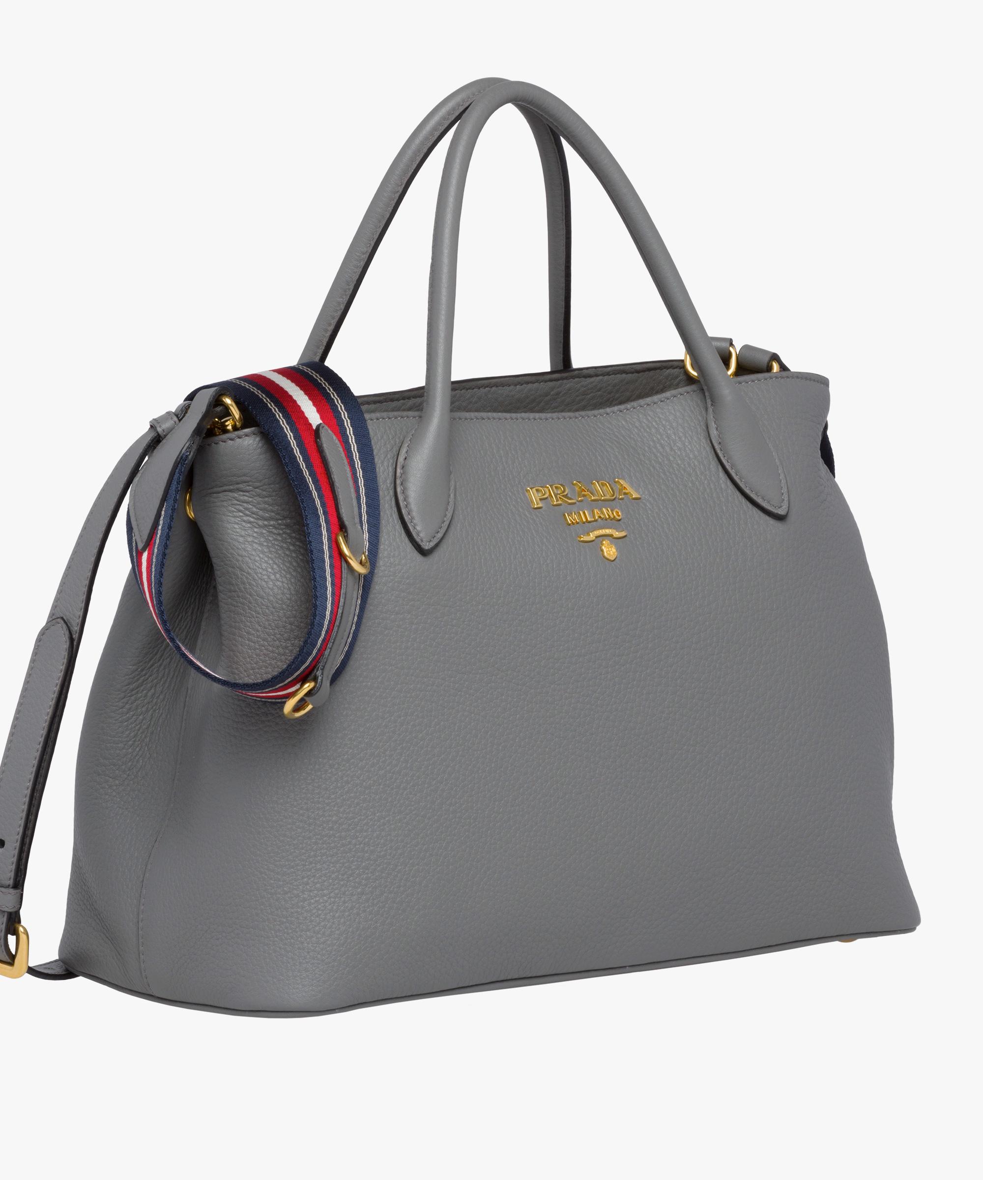 588fedee8f59 ... Calf leather bag Prada MARBLE GRAY ...