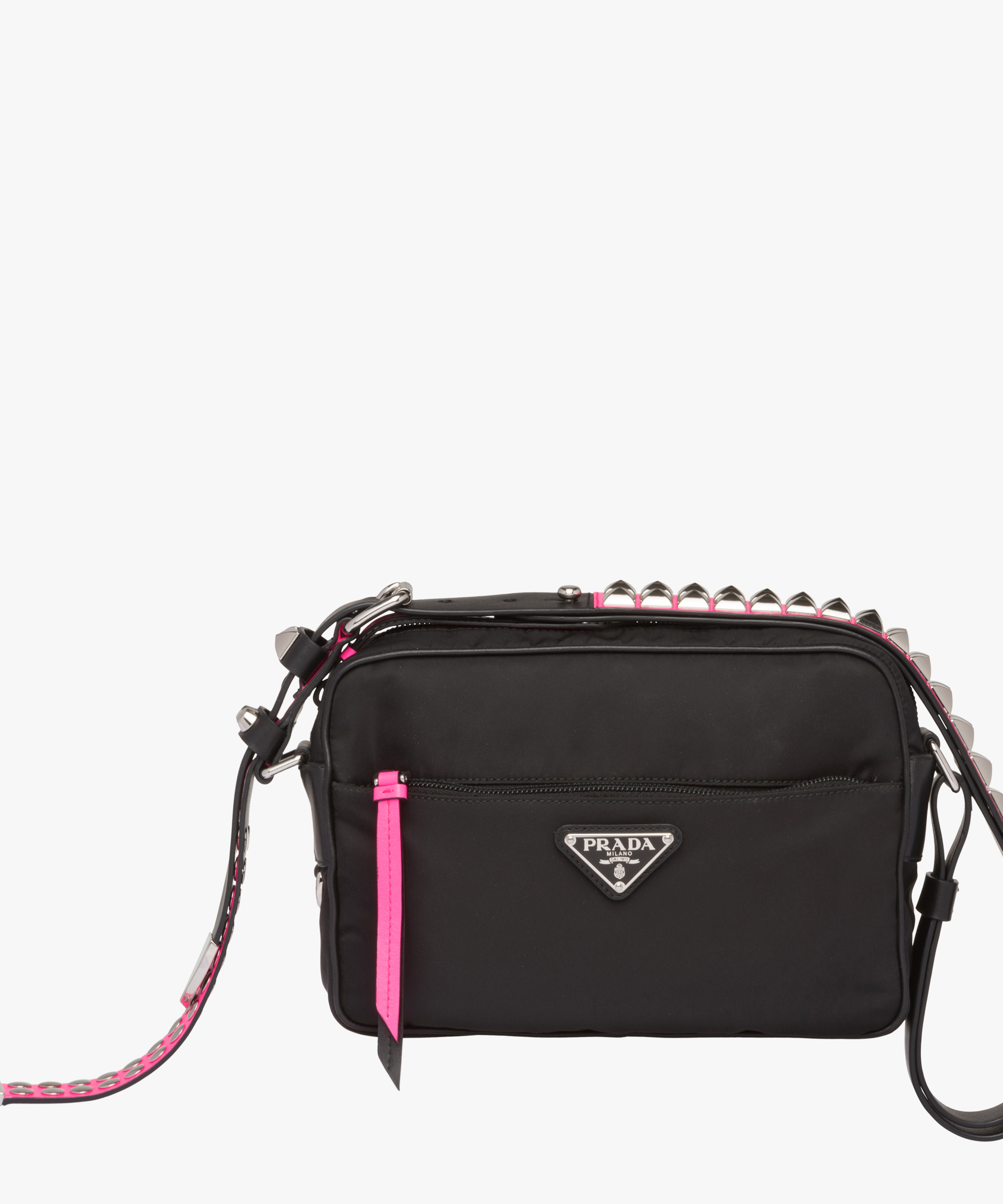 07746a398047ef ... promo code for prada black nylon shoulder bag prada blackfluorescent  pink 66ad2 72e82