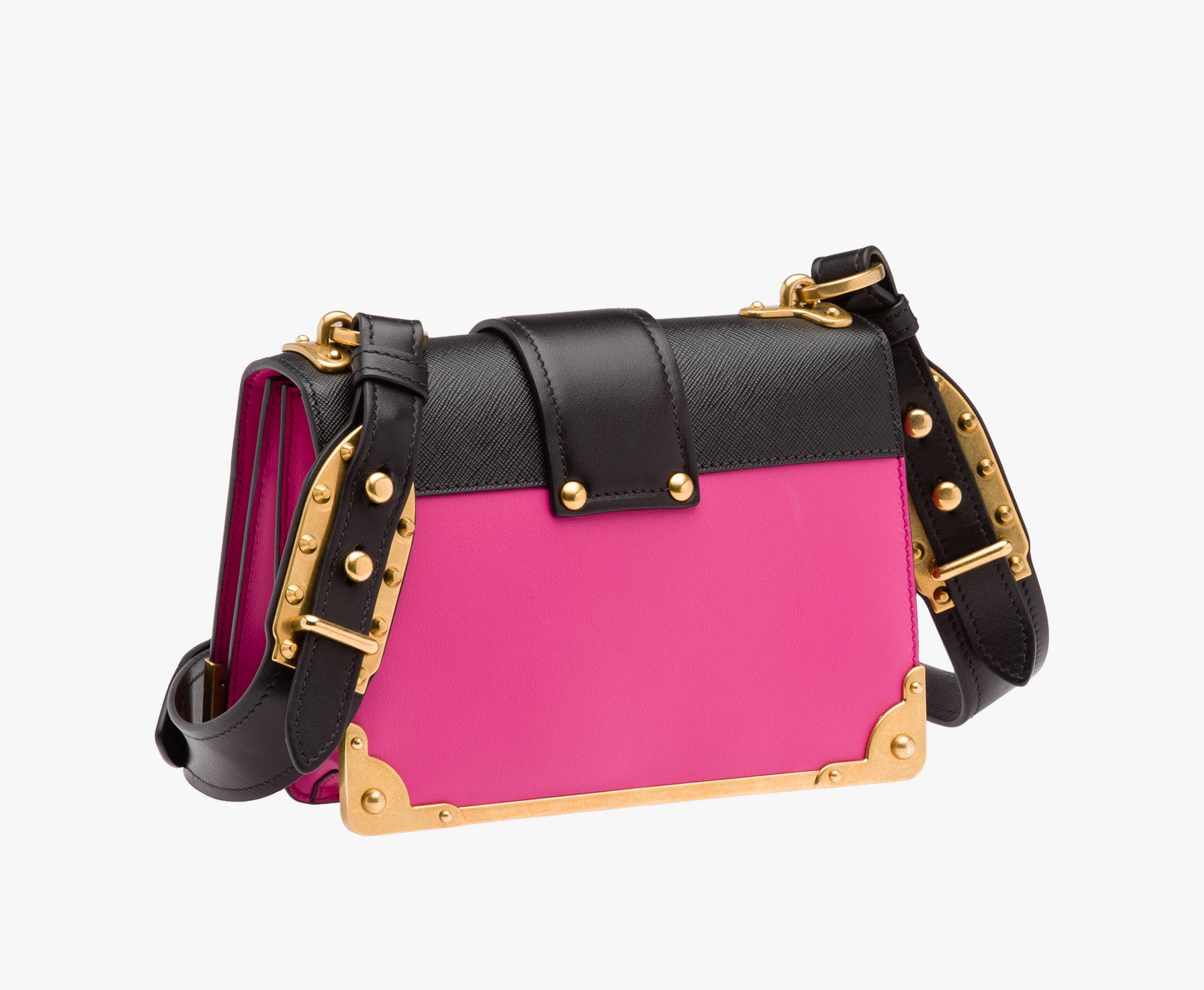 de8395d9192b ... Prada Cahier leather bag Prada FUCHSIA BLACK ...