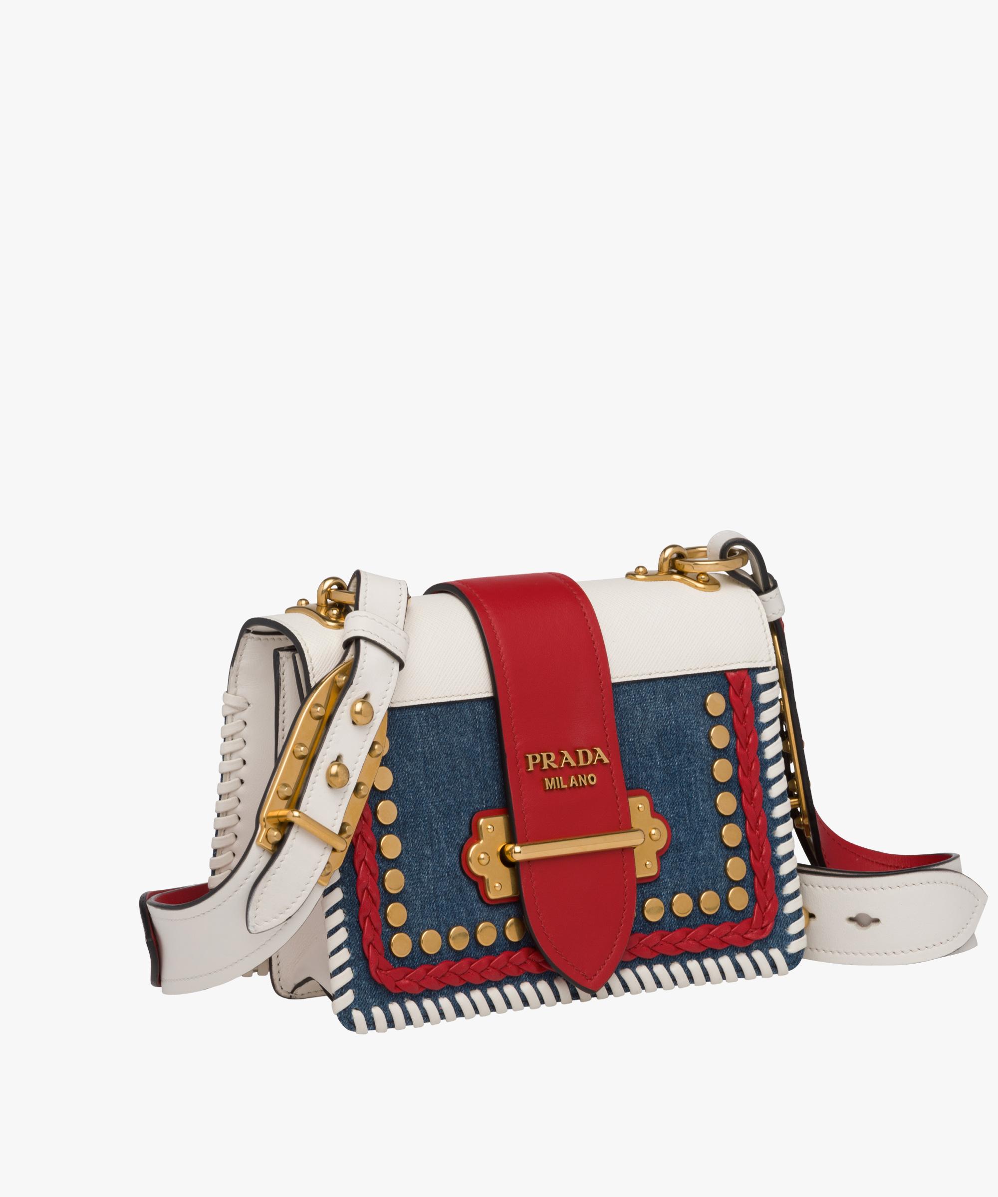 7d994181d366 Prada Cahier calf leather and denim bag
