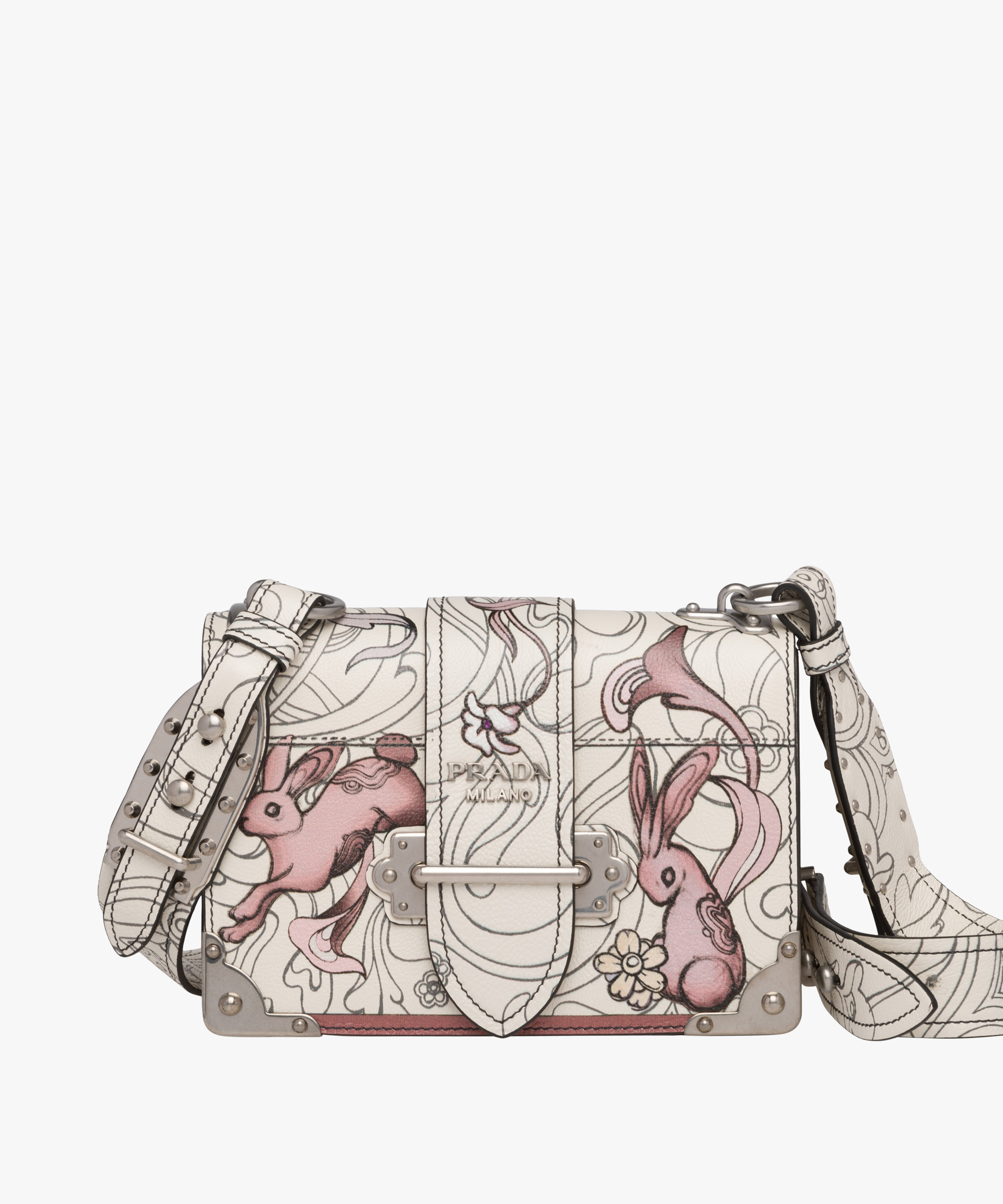 Printed Leather Shoulder Bag Prada WhdWGHZk