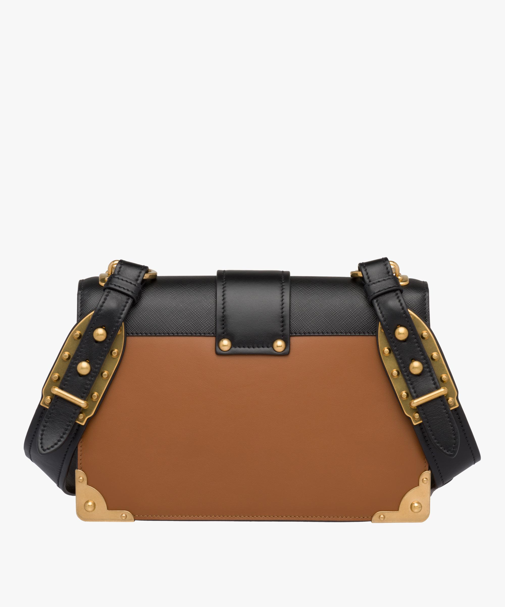 b50f381e7e37 ... Prada Cahier Large leather bag Prada COGNAC/BLACK ...