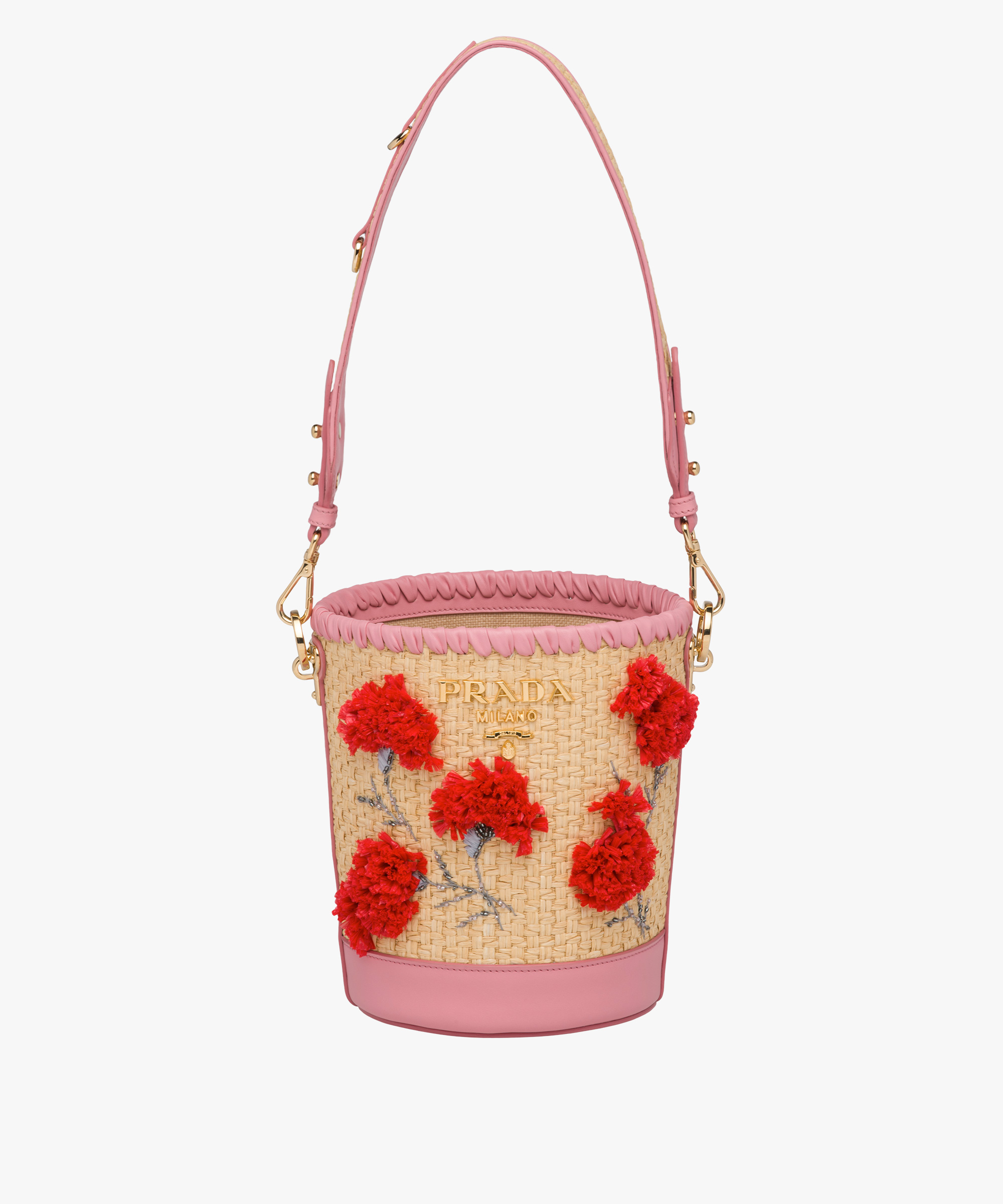 Straw And Leather Bucket Bag With Flowers Prada