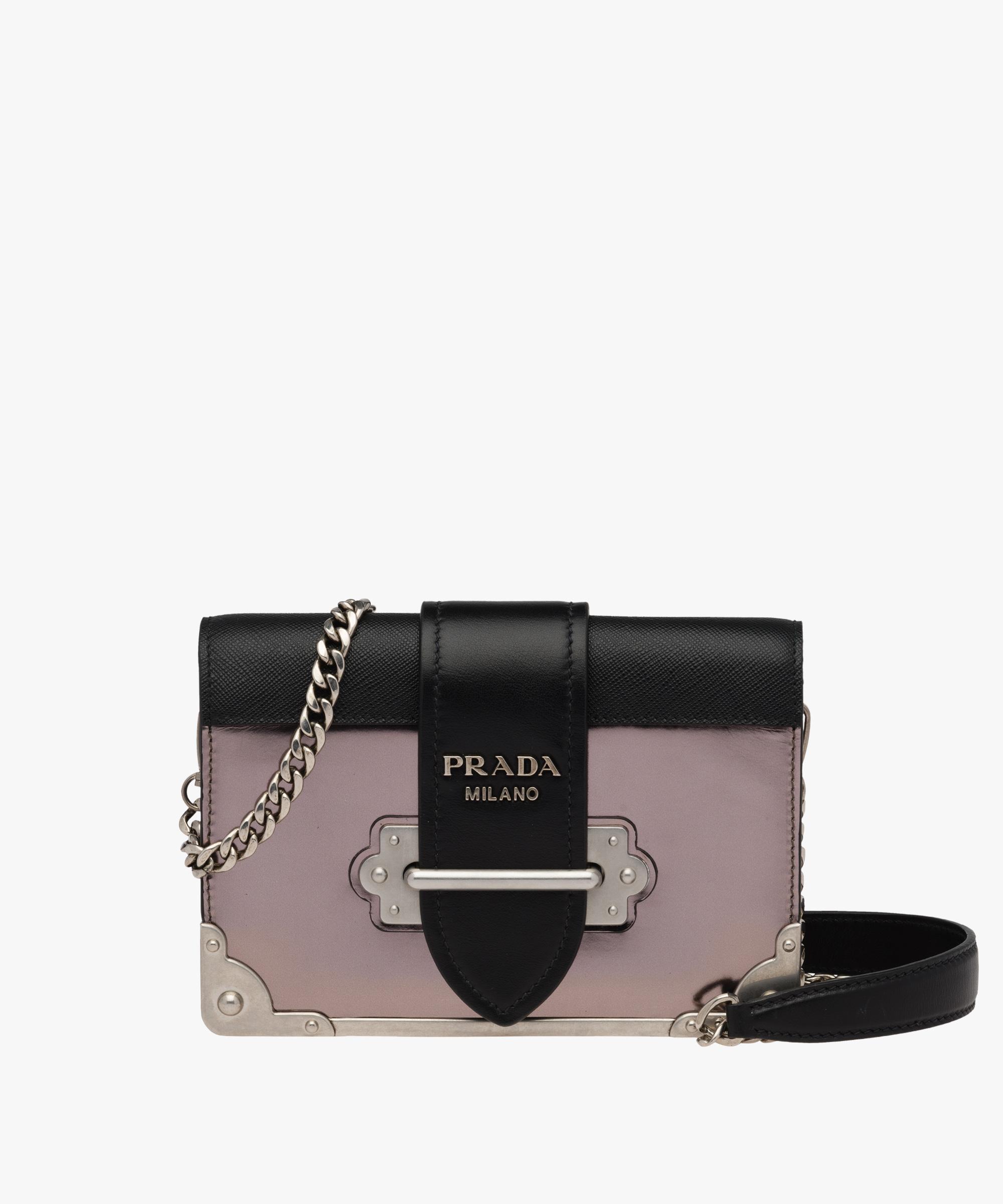 1d3fead91114c ... italy prada cahier leather shoulder bag prada iron gray black 995ce  a2bf2
