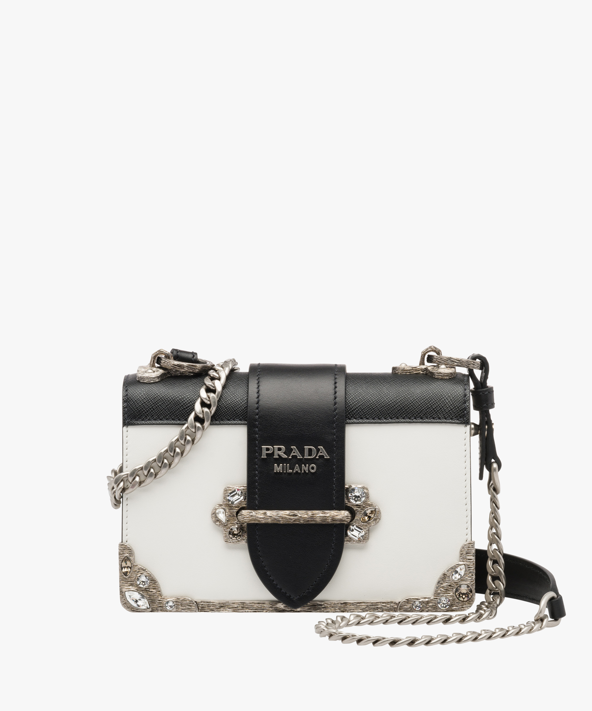 f7a19a073112 ... Prada Cahier leather shoulder bag Prada WHITE/BLACK ...