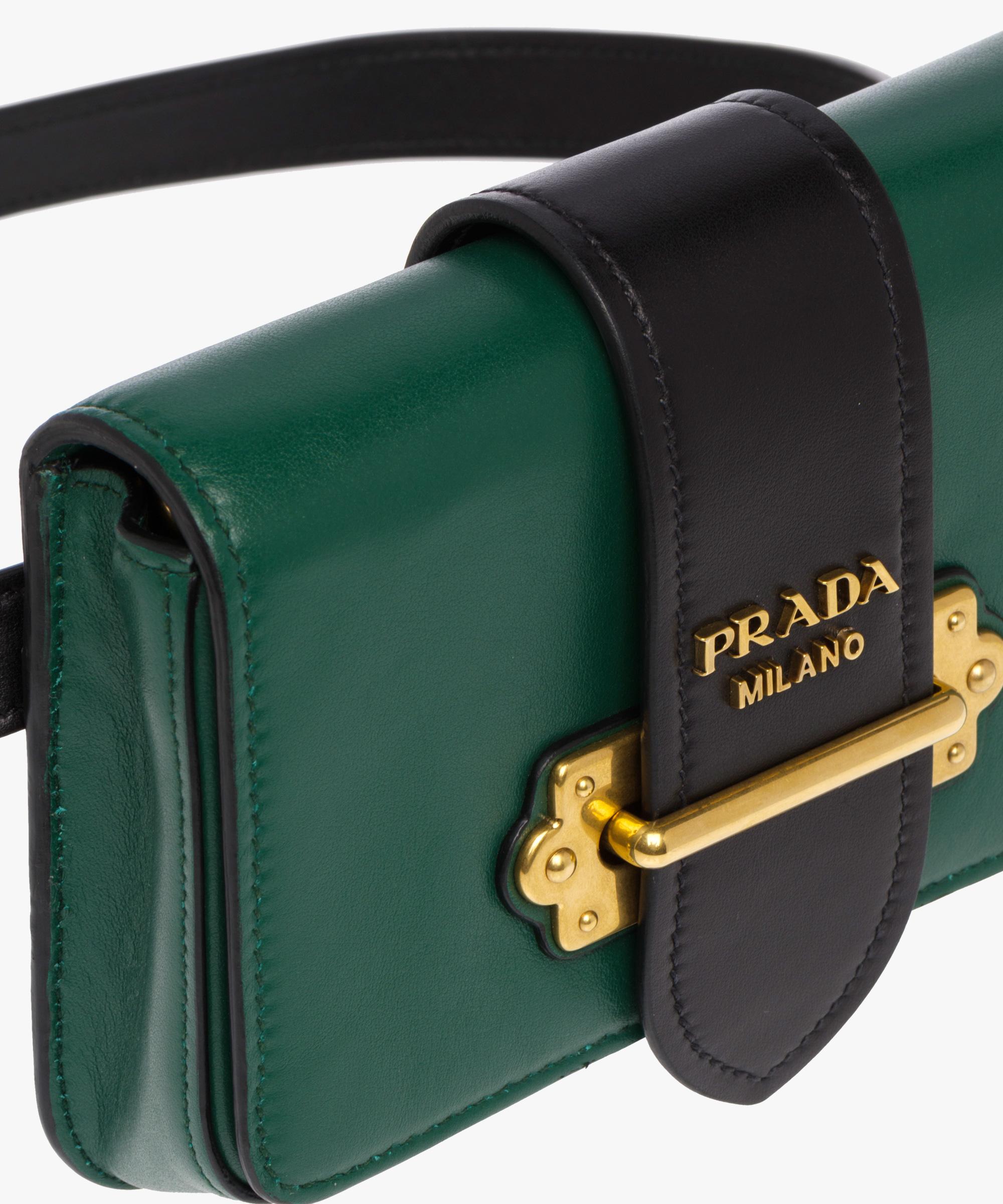 e09339aa548ae ... Prada Cahier Belt Bag Prada BILLIARD GREEN BLACK ...