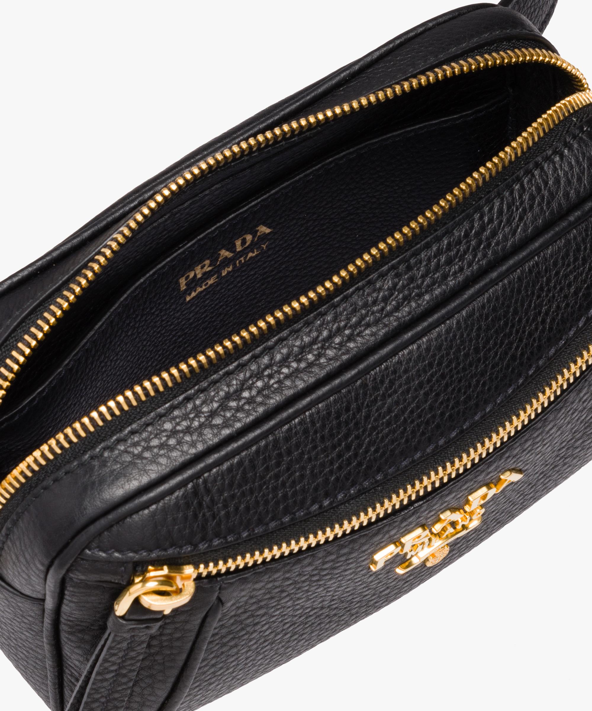 dcd1bd7e7d8a Calf leather belt bag Prada BLACK ...