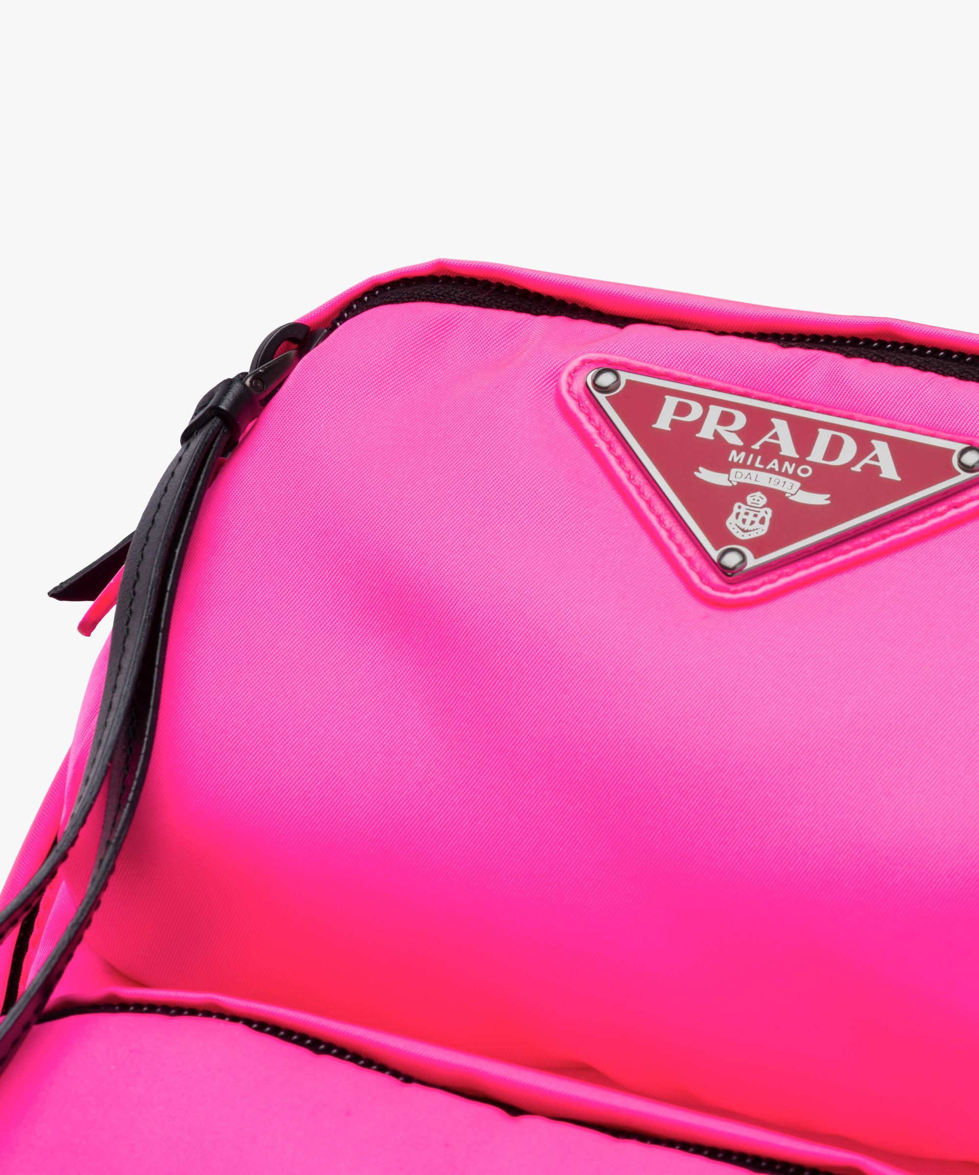 0342678518fc ... Nylon one-shoulder backpack Prada NEON PINK ...