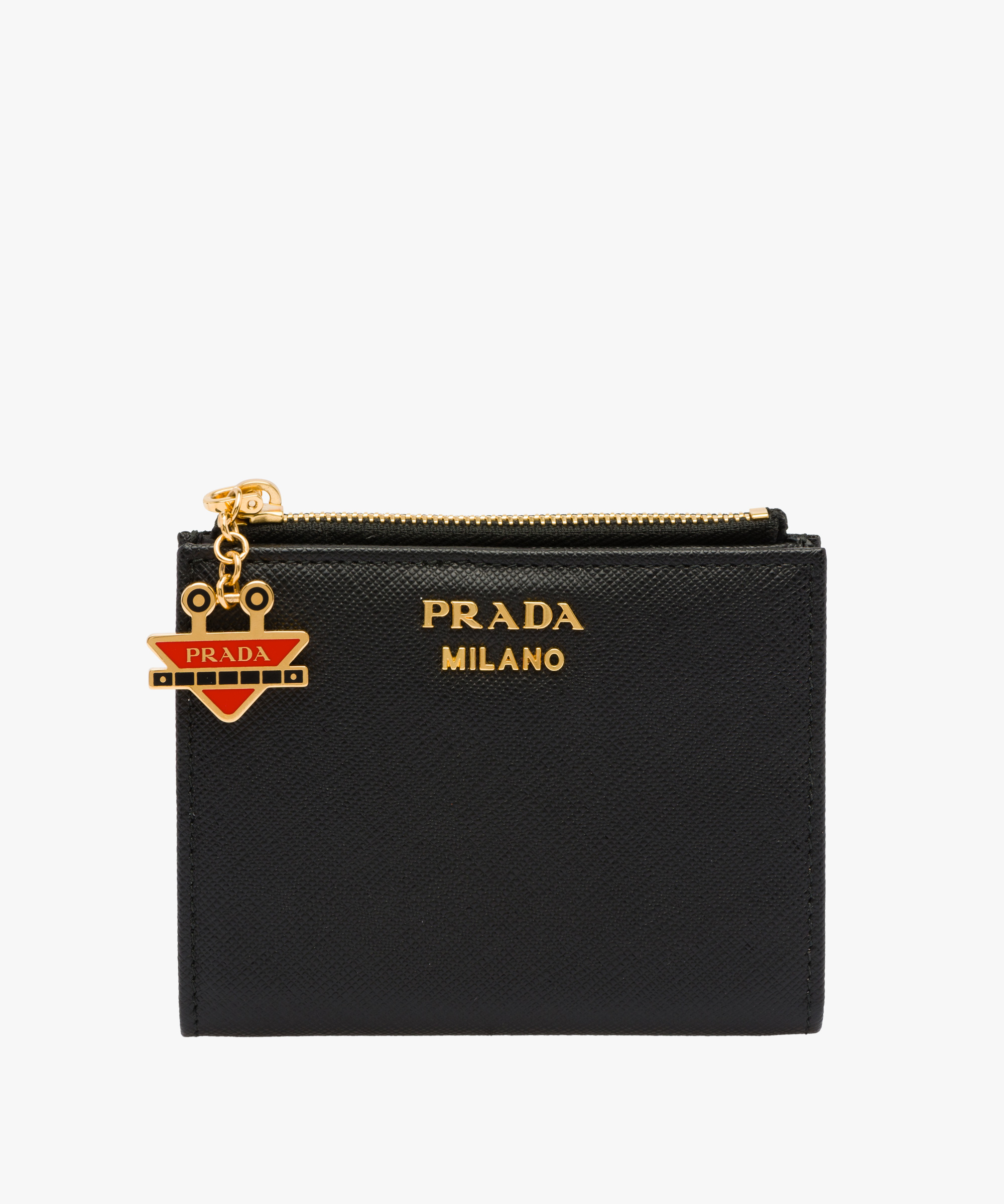 0045911ebd857d ... Small Saffiano leather wallet Prada BLACK/FIERY RED ...