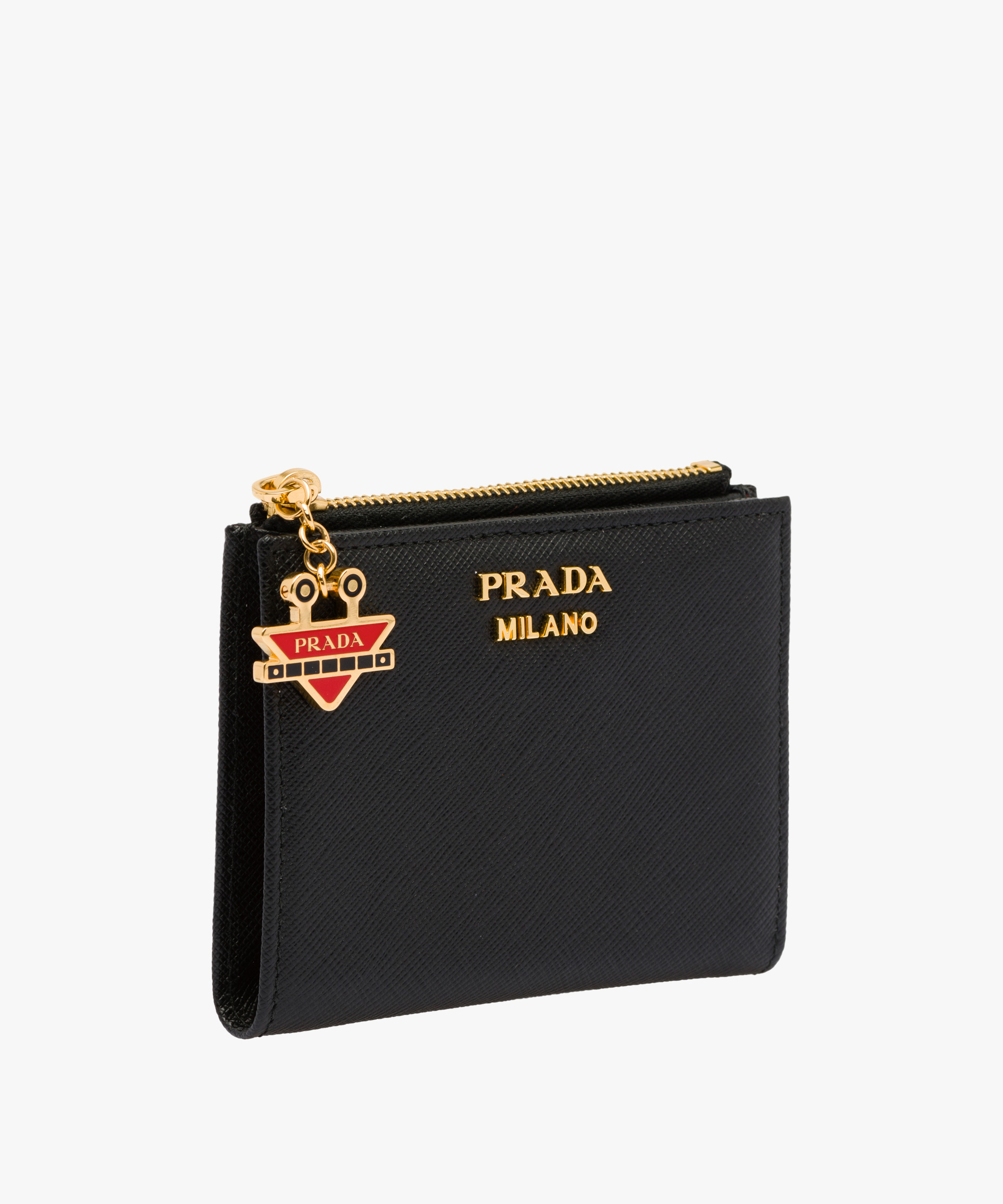9e3341615e3085 ... Small Saffiano leather wallet Prada BLACK/FIERY RED ...