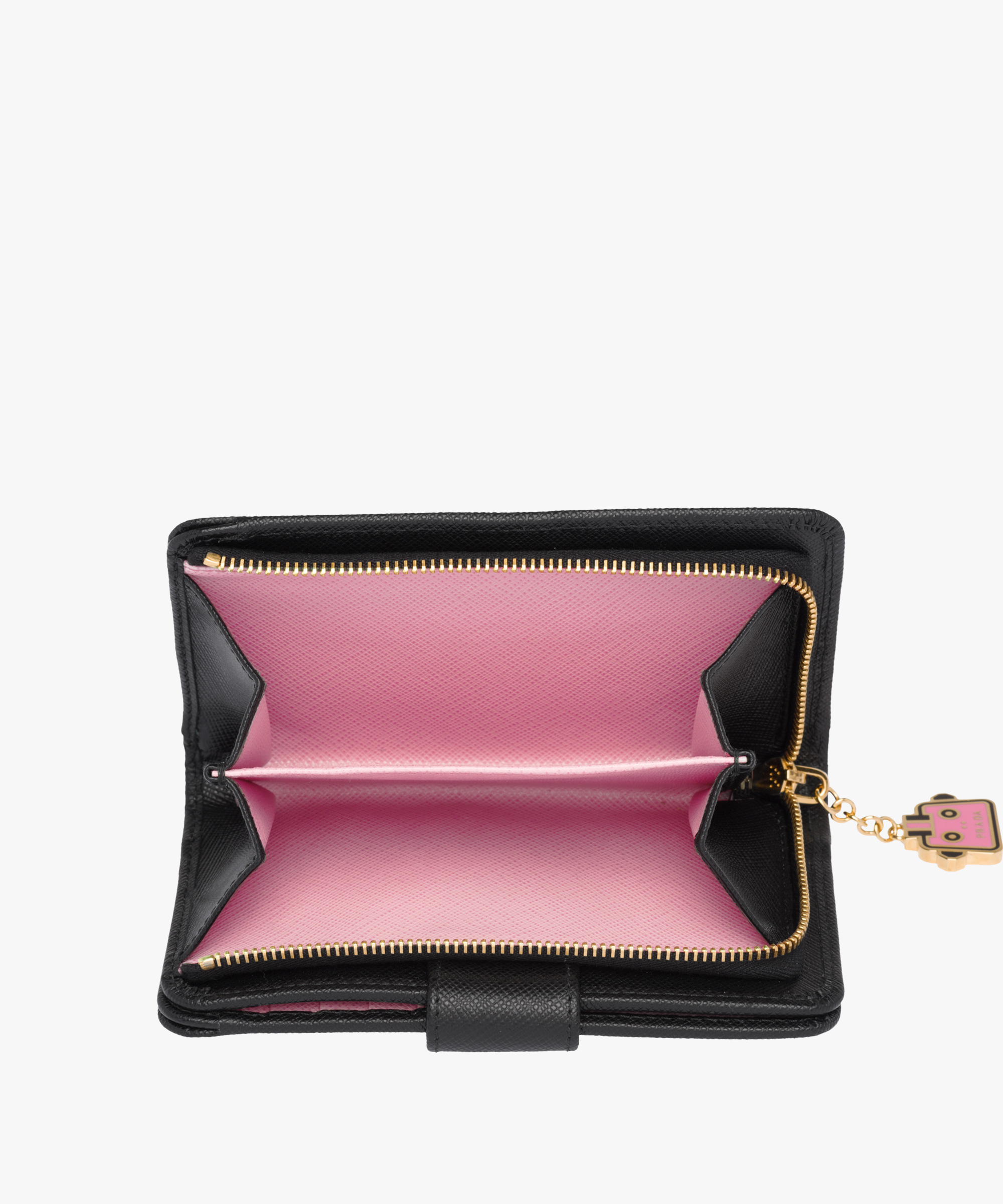 9908fca36db0 Medium Saffiano leather wallet Prada BLACK/BEGONIA PINK ...