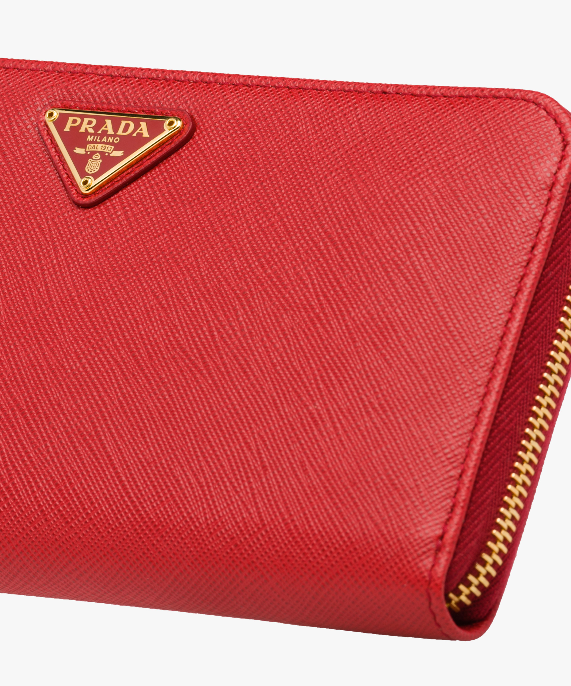 b62b76a107e1b4 ... Large Saffiano Leather Wallet Prada FIERY RED ...