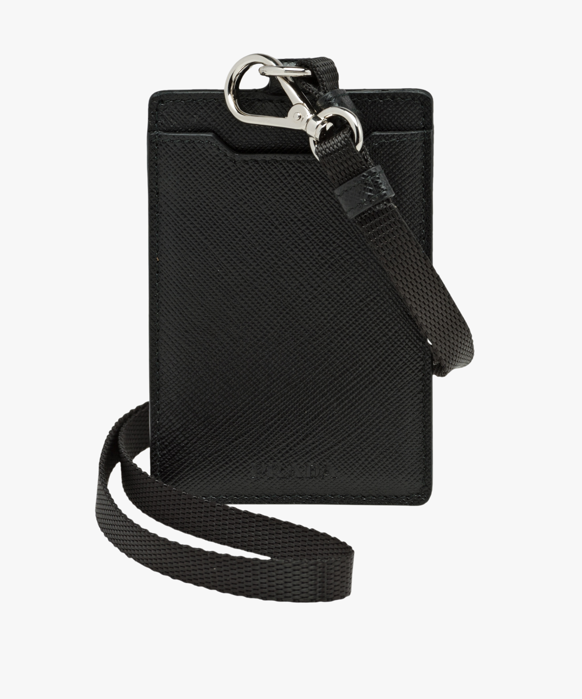 4d4237075fdf ... Saffiano Leather Badge Holder Prada BLACK ...