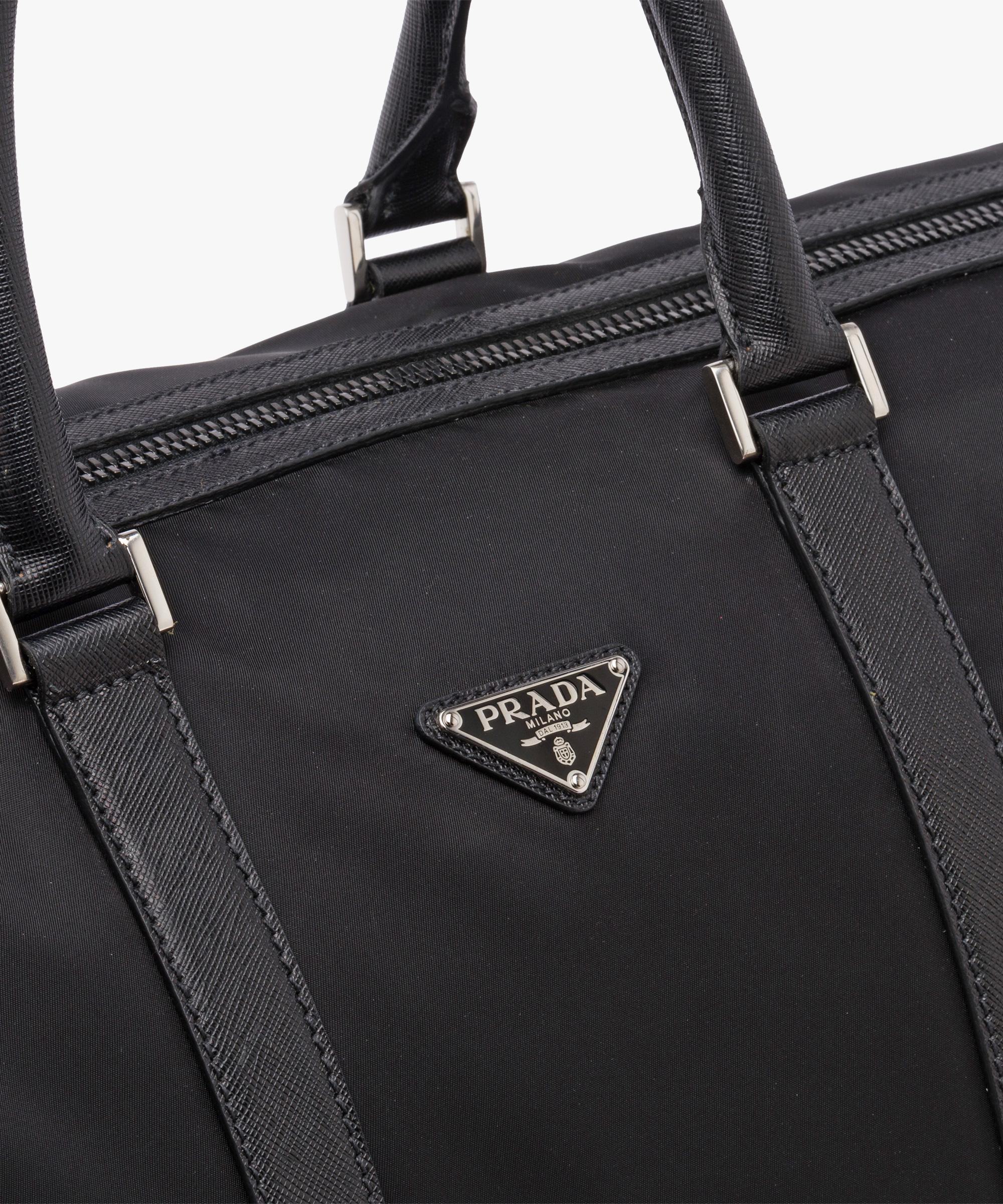 27f72baedded0 ... Nylon And Saffiano Leather Travel Bag Prada BLACK ...