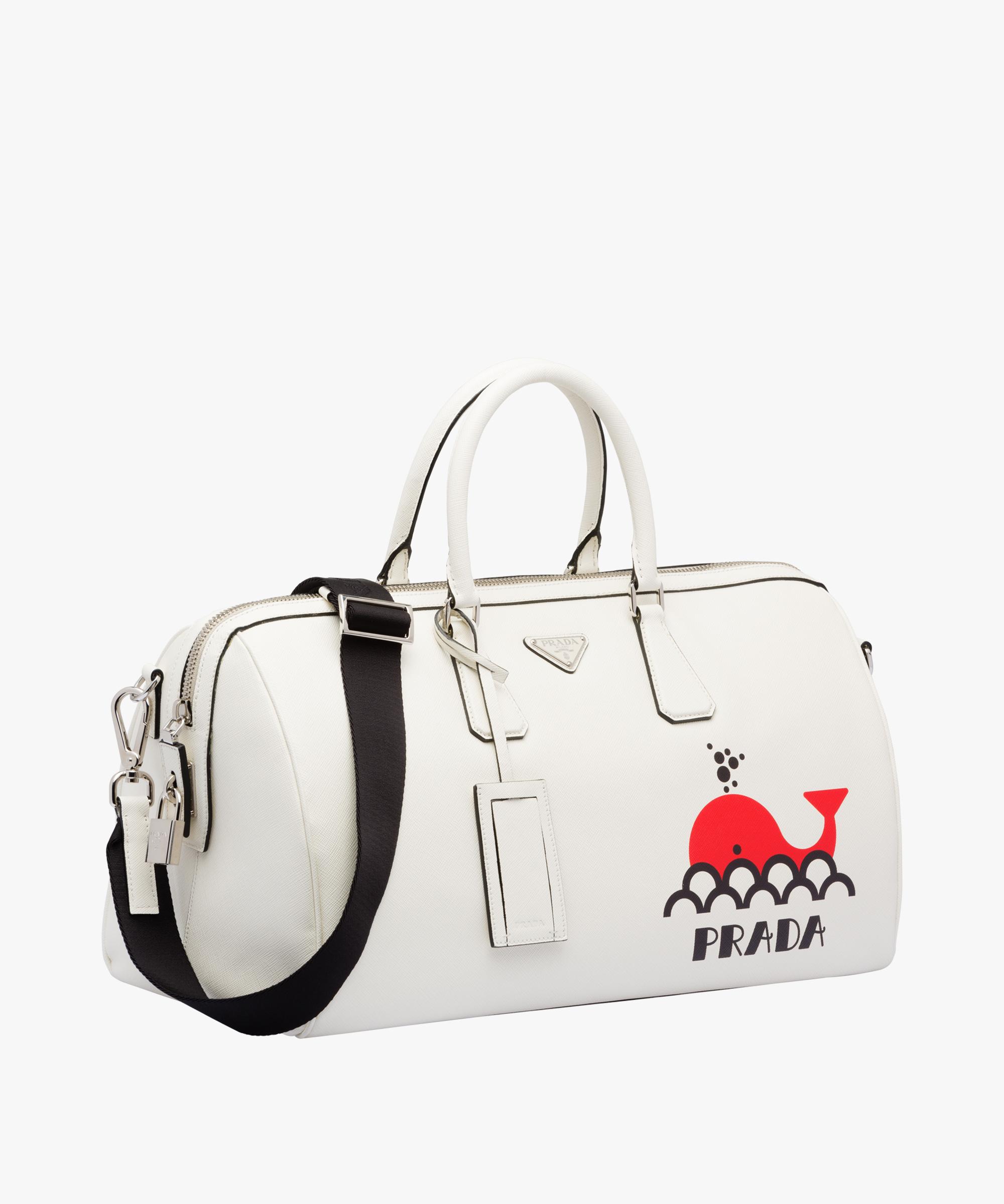 1640892bdb8f ... Printed Saffiano leather travel bag Prada WHITE RED ...
