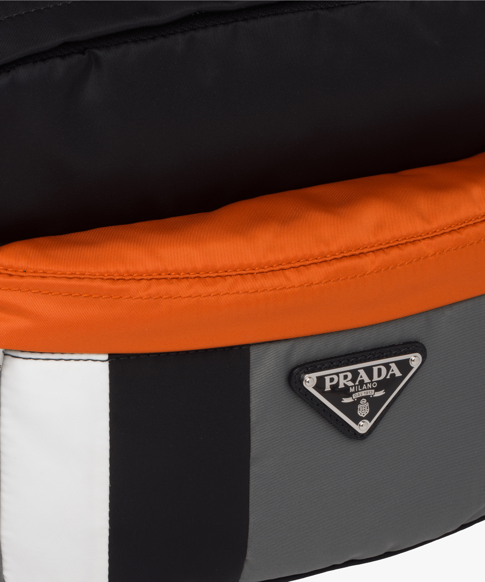 3cce40f76a89 ... Printed technical fabric bandoleer bag Prada BLACK SLATE GRAY ...