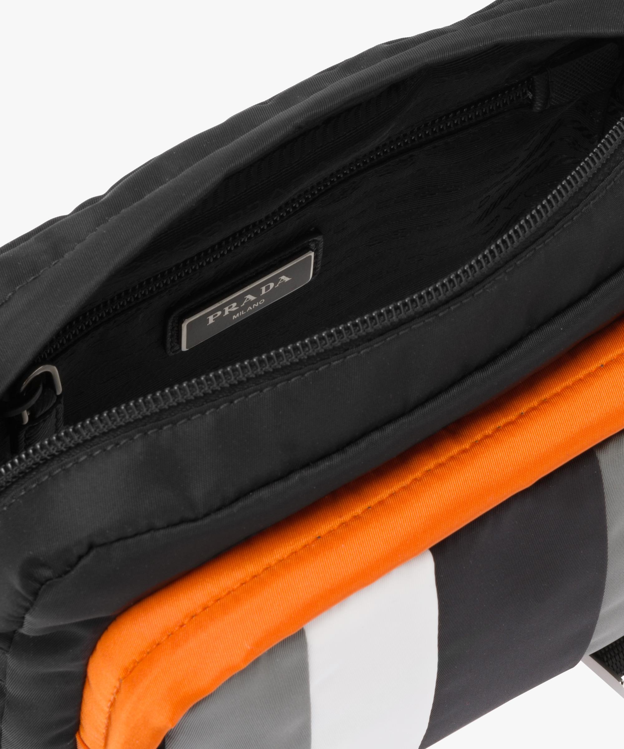 6fa7de10af7a Printed technical fabric bandoleer bag Prada BLACK SLATE GRAY ...