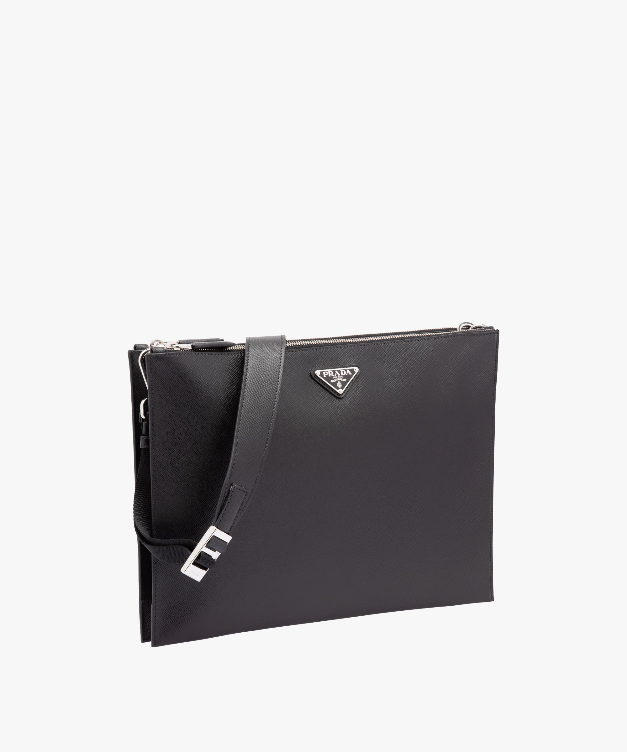e2ed35e858d22d ... Saffiano leather document holder Prada BLACK ...