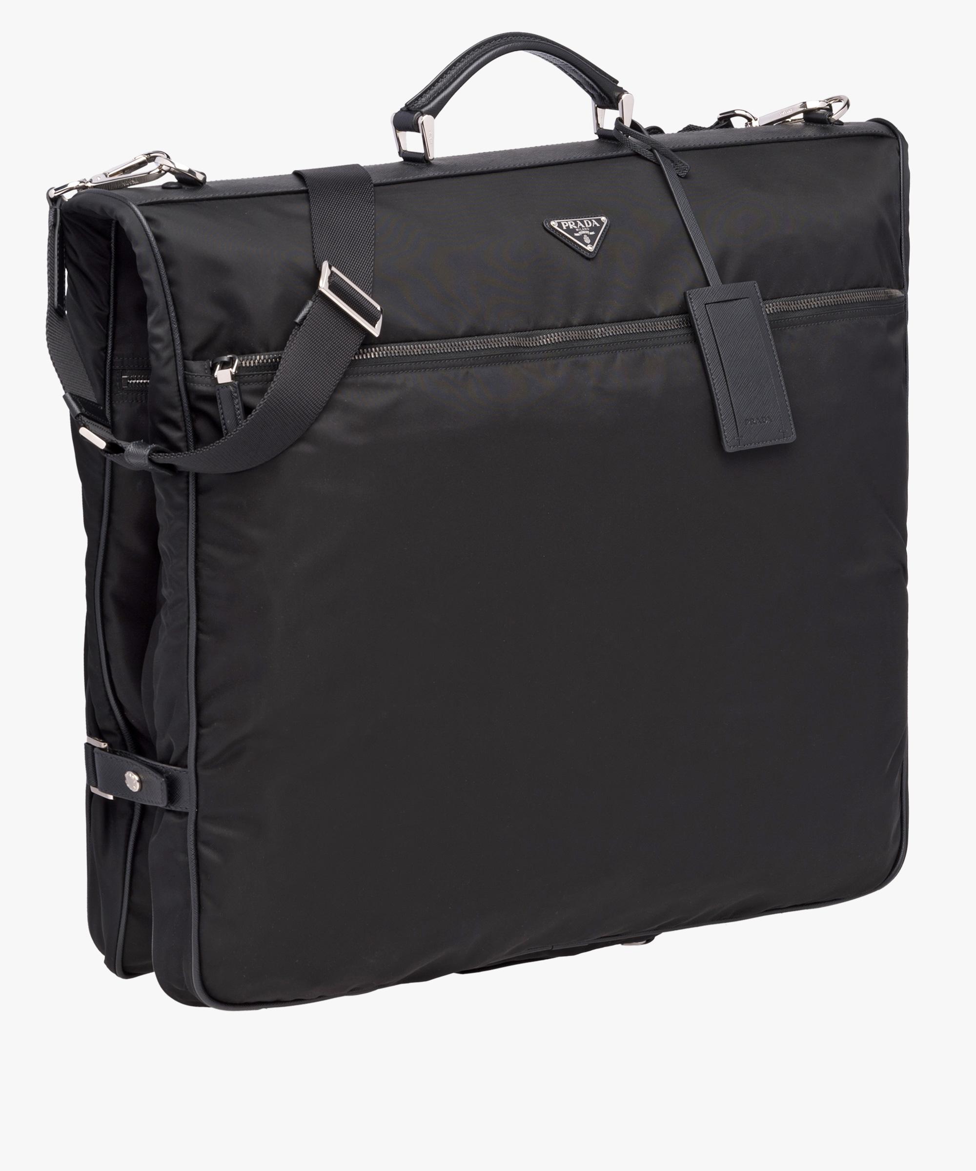 da7ff892109bcd ... Saffiano leather and nylon garment bag Prada BLACK ...